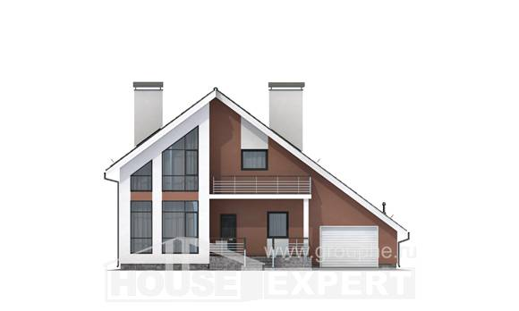 200-007-R Two Story House Plans with mansard roof and garage, a simple Custom Home