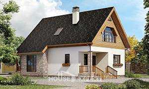 140-001-L Two Story House Plans with mansard, beautiful Timber Frame Houses Plans
