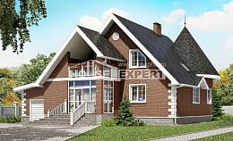 220-002-L Two Story House Plans and mansard with garage in front, classic Villa Plan