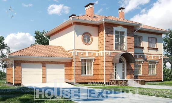 285-001-L Two Story House Plans with garage under, cozy Building Plan
