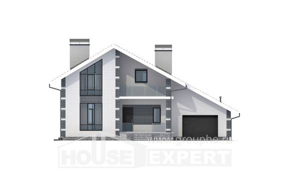 180-001-R Two Story House Plans and mansard with garage in back, cozy Models Plans