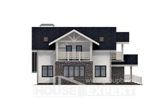 155-010-R Two Story House Plans with mansard roof and garage, a simple Plans Free