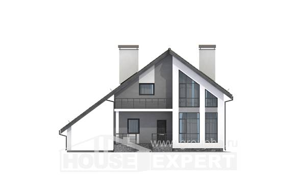 170-009-L Two Story House Plans with mansard roof with garage under, compact House Blueprints