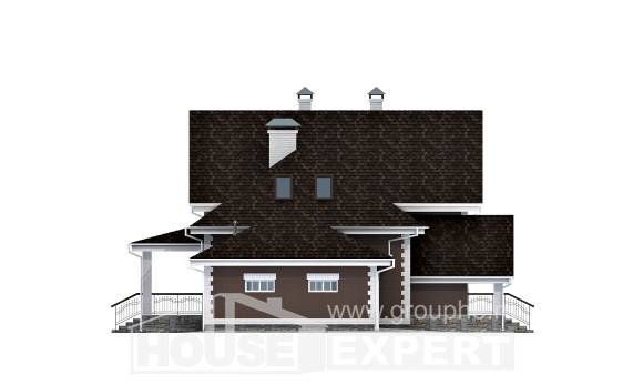 190-003-L Two Story House Plans with mansard with garage, classic Custom Home Plans Online