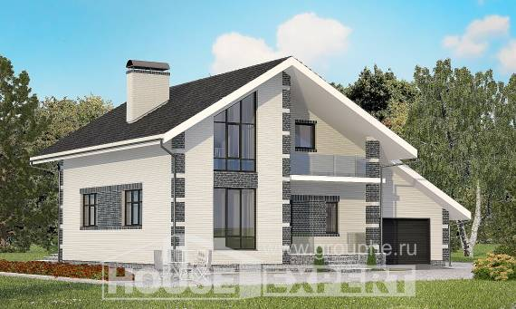 180-001-R Two Story House Plans with mansard with garage in front, classic Architect Plans
