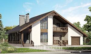265-001-R Two Story House Plans and mansard with garage under, big Floor Plan