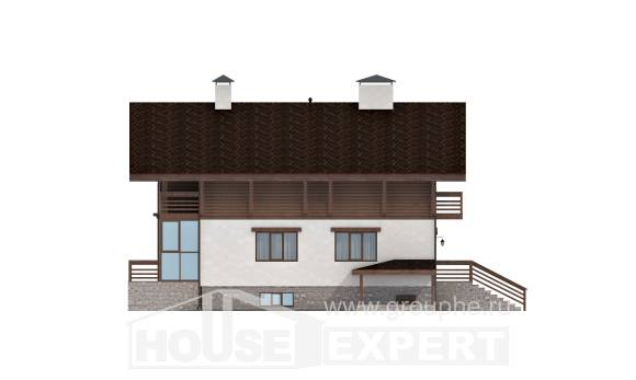 420-001-R Three Story House Plans and mansard with garage, luxury Architectural Plans