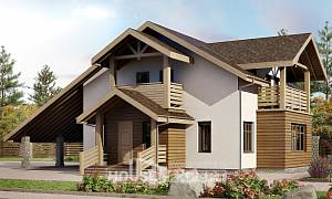 155-010-L Two Story House Plans with mansard roof with garage in back, modest House Planes