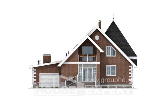 220-002-L Two Story House Plans with mansard with garage under, best house Plans To Build