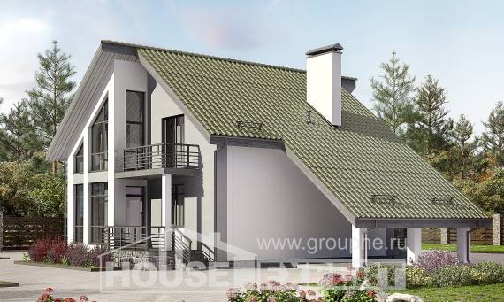 170-009-L Two Story House Plans and mansard with garage in back, modern Plans To Build