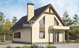 120-005-L Two Story House Plans and mansard with garage, a simple House Plan