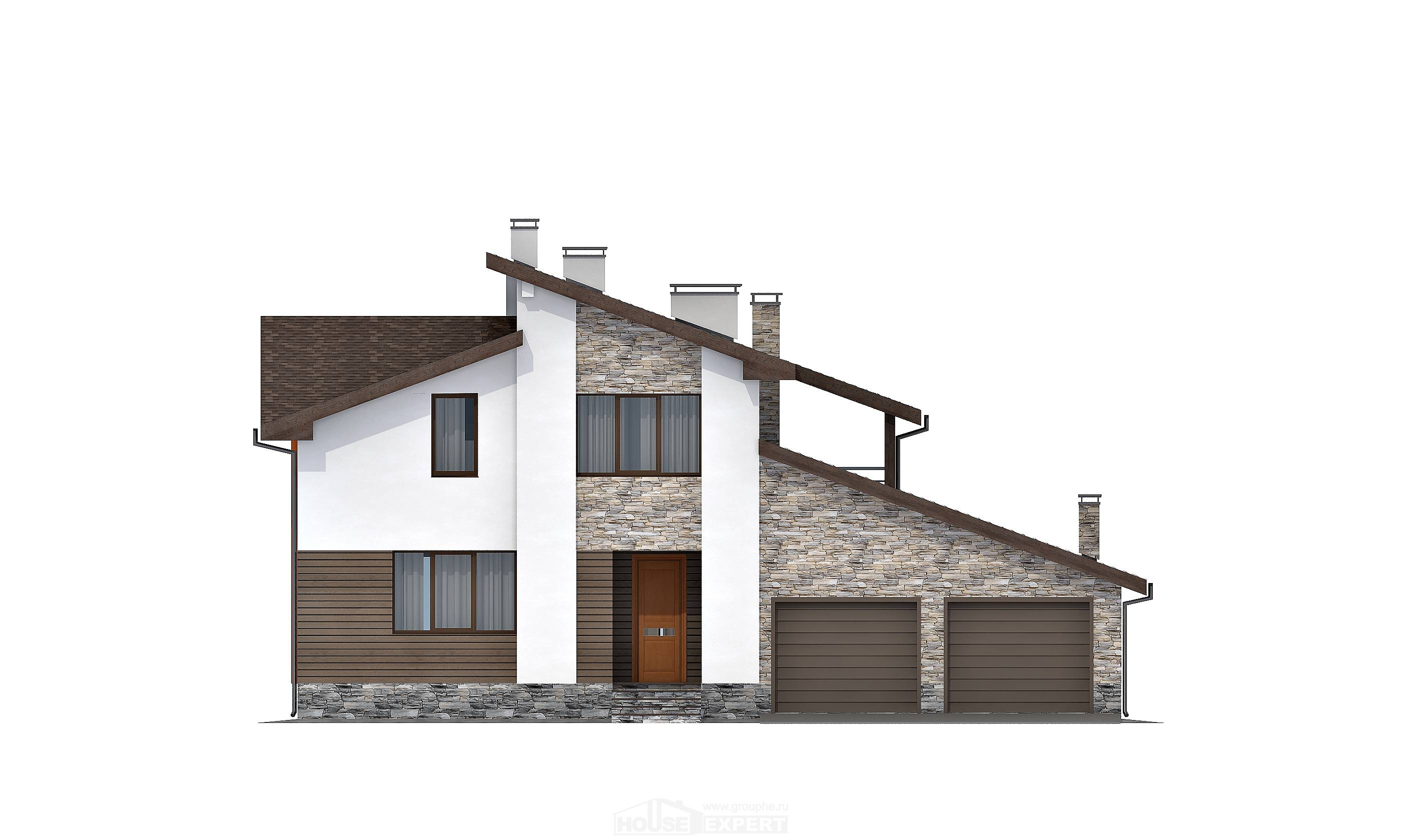 240-004-R Two Story House Plans with mansard with garage in back, spacious Home House