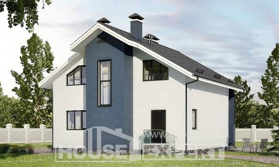 150-005-R Two Story House Plans with mansard, cozy Custom Home