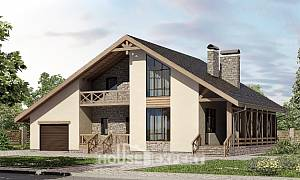 265-001-L Two Story House Plans with mansard roof with garage under, spacious Blueprints
