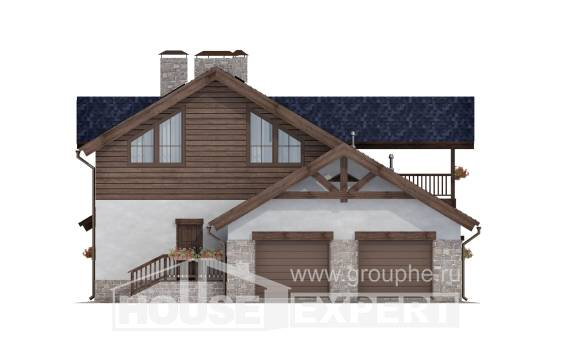 280-003-L Two Story House Plans and mansard with garage, classic Plans Free