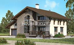 280-001-R Two Story House Plans with mansard with garage in back, cozy Construction Plans
