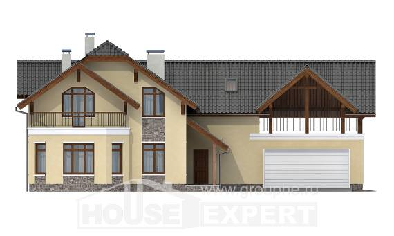 255-003-R Two Story House Plans with mansard with garage in front, a huge House Planes