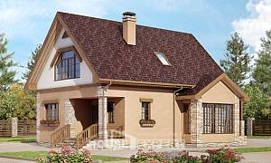140-002-R Two Story House Plans with mansard, economical Planning And Design