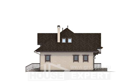 200-001-L Two Story House Plans and mansard with garage under, beautiful Building Plan