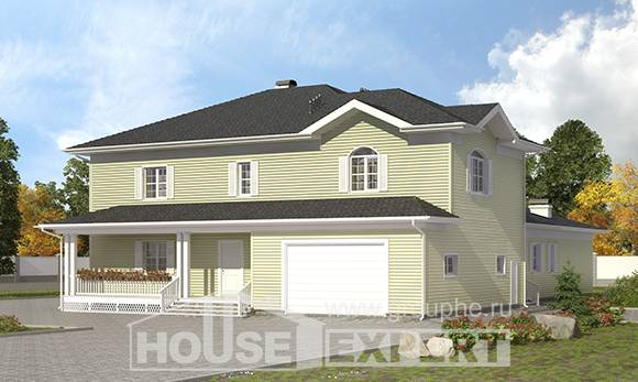 410-002-L Two Story House Plans with garage under, cozy Ranch