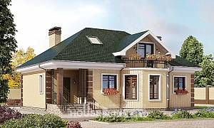 150-013-L Two Story House Plans with mansard roof, available Home House