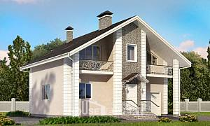 150-002-R Two Story House Plans with mansard roof with garage, cozy Villa Plan