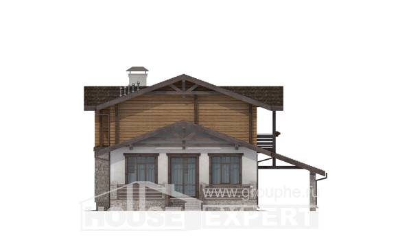 170-004-L Two Story House Plans and mansard with garage under, cozy Cottages Plans