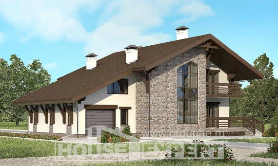 280-001-R Two Story House Plans with mansard with garage, cozy Construction Plans