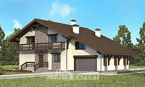 280-001-R Two Story House Plans and mansard with garage under, modern Architects House