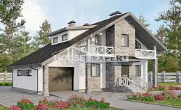 180-017-L Two Story House Plans with mansard with garage, classic Plans Free,