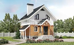 100-005-L Two Story House Plans with mansard, compact House Plans