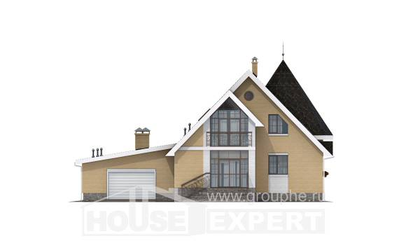 250-001-L Two Story House Plans with mansard with garage under, classic House Online