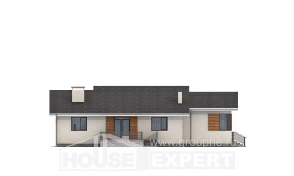 135-002-R One Story House Plans with garage under, modern Timber Frame Houses Plans