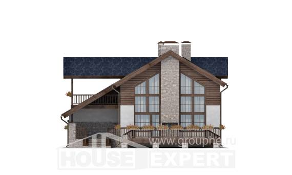 240-002-L Two Story House Plans and mansard with garage in back, average House Building