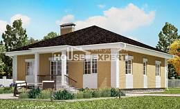 130-002-L One Story House Plans with garage under, modest Construction Plans