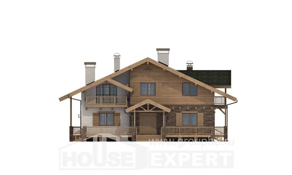 250-003-L Two Story House Plans and mansard, a huge Plan Online