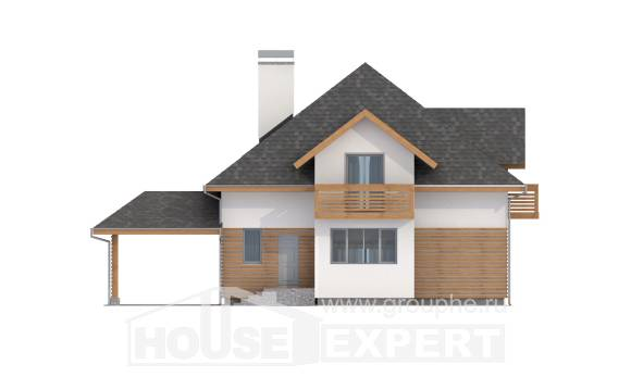 155-004-R Two Story House Plans with mansard roof with garage in back, best house Plan Online