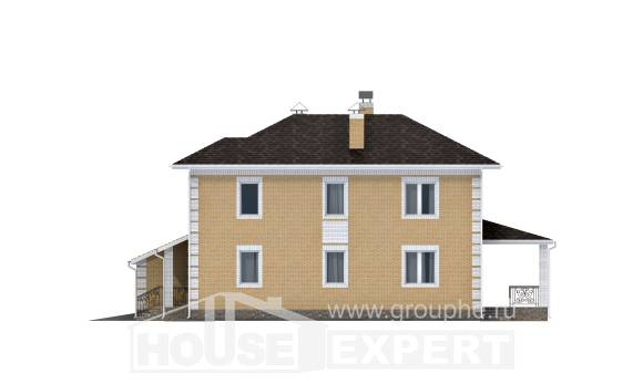 220-006-L Two Story House Plans with garage in back, classic Home Plans