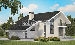 180-001-R Two Story House Plans with mansard with garage, small Blueprints