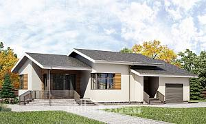 135-002-R One Story House Plans with garage in back, classic Plan Online