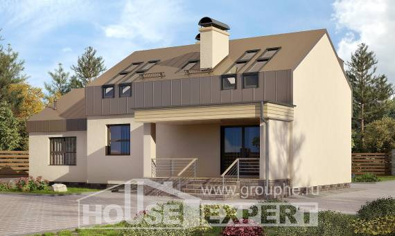 150-015-L Two Story House Plans with mansard with garage in back, economical Design House