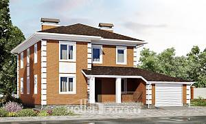220-004-L Two Story House Plans with garage in back, classic Building Plan
