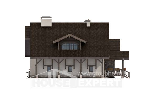 340-003-R Two Story House Plans with mansard roof with garage in front, modern Woodhouses Plans
