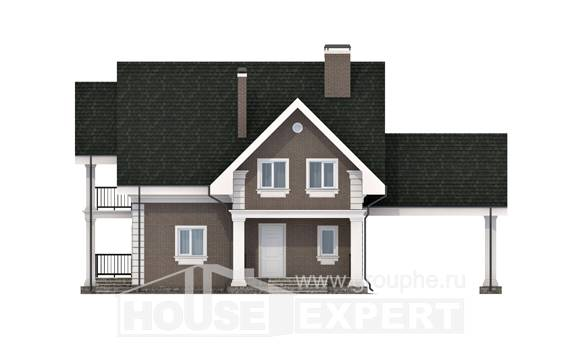 140-003-R Two Story House Plans with mansard roof with garage in front, economical Plans Free