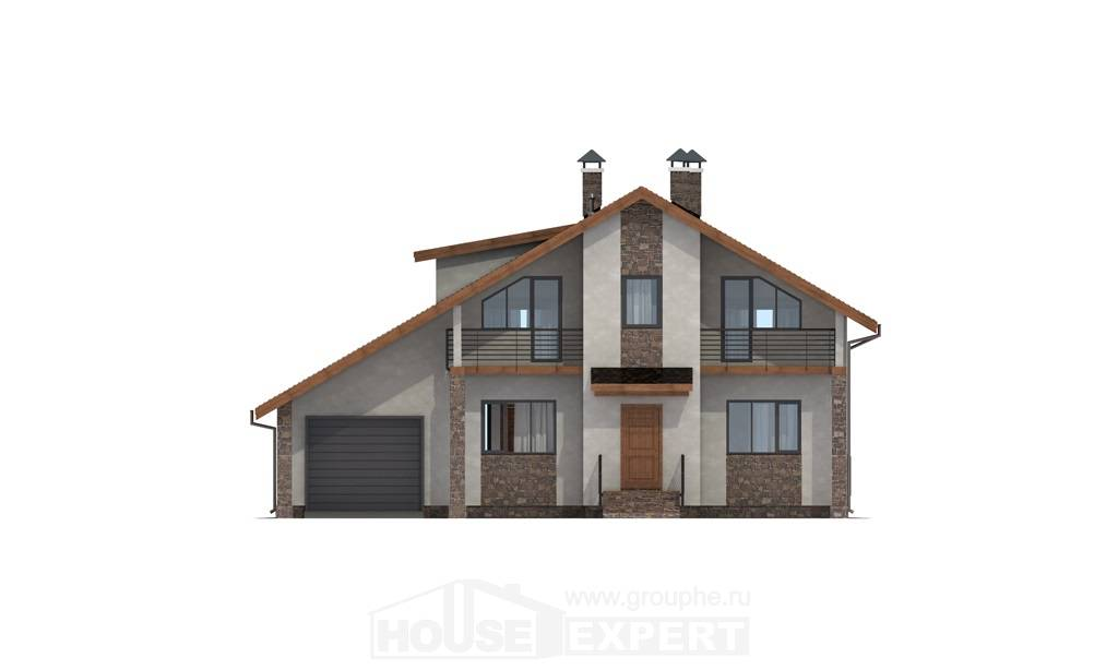 180-008-L Two Story House Plans with mansard with garage under, average Home House,