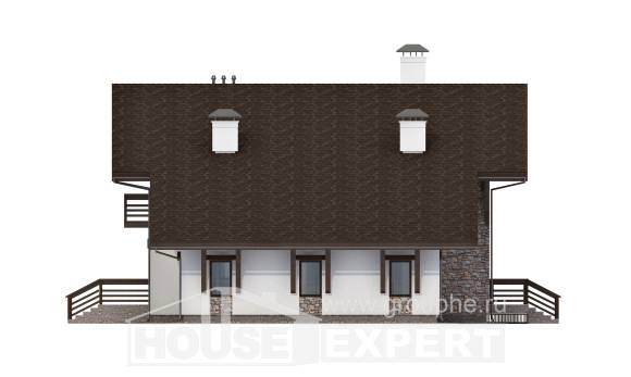 280-001-R Two Story House Plans with mansard roof and garage, spacious Drawing House