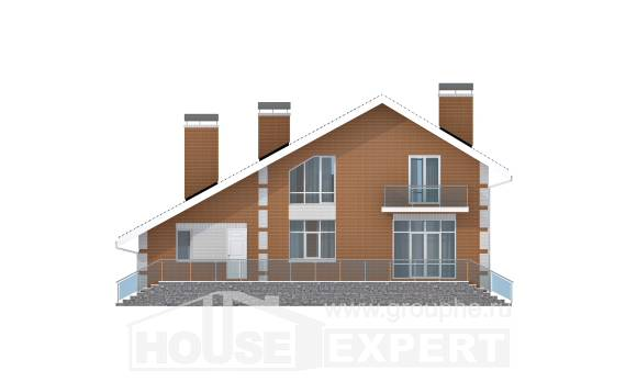 190-006-R Two Story House Plans with mansard roof with garage in front, luxury Architects House