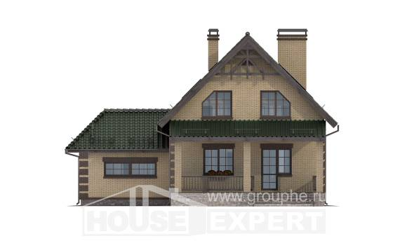 160-007-R Two Story House Plans and mansard with garage under, modest Blueprints