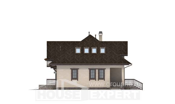 200-001-L Two Story House Plans with mansard roof with garage, cozy Blueprints of House Plans