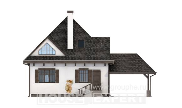 110-002-L Two Story House Plans with mansard with garage in front, cozy Design Blueprints